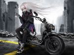 1girl absurdres artist_request cellphone city damaged english_text flip_phone girls_frontline ground_vehicle hair_flowing_over heterochromia highres mdr_(girls_frontline) motor_vehicle motorcycle phone road ruins solo