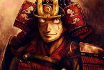 1boy angolmois:_genkou_kassenki armor black_eyes black_hair brown_background helmet japanese_armor jinzaburo_kuchii kabuto looking_at_viewer male_focus scar scar_across_eye smile solo upper_body yoshigoi