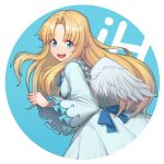 1girl :d absurdres angel_wings bangs blonde_hair blue_bow blue_eyes bow chun_zhuan dress eyebrows_visible_through_hair feathered_wings firo_(tate_no_yuusha_no_nariagari) frilled_dress frilled_sleeves frills highres long_hair looking_at_viewer looking_back open_mouth parted_bangs smile tate_no_yuusha_no_nariagari white_dress white_wings wide_sleeves wings