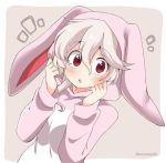1girl animal_ears animal_hood bunny_hood corrin_(fire_emblem) corrin_(fire_emblem)_(female) eromame fake_animal_ears fire_emblem fire_emblem_fates hood long_sleeves manakete open_mouth pink_background rabbit_ears red_eyes simple_background solo twitter_username upper_body white_hair