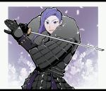 1boy alternate_costume armor fire_emblem fire_emblem:_three_houses flower fur_trim gloves highres japanese_armor katana long_hair lorenz_hellman_gloucester open_mouth petals purple_hair solo sword upper_body violet_eyes weapon white_background yuyu_0519