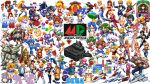 6+boys 6+girls arle_nadja asha_(monster_world) axel_stone bare_knuckle blaze_fielding carbuncle_(puyopuyo) character_request copyright_request darius dr._eggman draco_centauros dynamite_headdy dynamite_headdy_(character) everyone game_console gun gunstar_heroes highres holding holding_gun holding_weapon logo looking_at_viewer monster_world monster_world_iv multiple_boys multiple_girls phantasy_star pixel_art pixelflag puyo_(puyopuyo) puyopuyo rockman rockman_(character) rulue_(puyopuyo) ryuu_(street_fighter) satan_(puyopuyo) schezo_wegey sega sega_mega_drive silhouette silver_hawk simple_background sonic sonic_the_hedgehog space_craft tails_(sonic) tetris toguro_otouto weapon white_background yuu_yuu_hakusho
