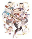 3girls animal_ears blonde_hair cake cosplay feathers final_fantasy food full_body gloves hat ji_no macaron multiple_girls official_art pantyhose pig_ears plump sandwich sinoalice skinny smile staff three_little_pigs_(sinoalice) transparent_background upper_teeth vial violet_eyes white_mage white_mage_(cosplay) wide_sleeves