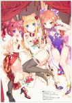 3: 3girls :d :o absurdres animal_ears ass bangs barefoot bed_sheet bell blonde_hair blue_eyes blush bow breasts brown_hair bun_cover cat_ears cat_girl cat_tail china_dress chinese_clothes claw_pose double_bun dress eyebrows_visible_through_hair fang floral_print flower green_eyes grey_legwear hair_between_eyes hair_flower hair_ornament hazuki_watora high_heels highres huge_filesize jingle_bell kemonomimi_mode long_hair looking_at_viewer minazuki_sarami multiple_girls no_panties open_mouth original panties parted_lips paw_pose peko pelvic_curtain pink_panties print_dress print_footwear purple_dress purple_footwear red_bow red_dress red_flower red_footwear redhead scan shimotsuki_potofu shoes side-tie_panties side_bun single_shoe single_thighhigh small_breasts smile soles tail tail_bow thigh-highs translation_request twintails underwear v-shaped_eyebrows very_long_hair violet_eyes white_dress white_footwear white_legwear white_panties