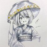 1girl bowl bowl_hat dated hand_on_headwear hat highres japanese_clothes kimono long_sleeves looking_at_viewer monochrome obi open_mouth sash short_hair signature smile solanikieru solo spot_color sukuna_shinmyoumaru touhou wide_sleeves