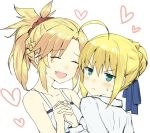2girls :d ahoge artoria_pendragon_(all) bangs blonde_hair blue_ribbon blush braid breasts closed_eyes commentary_request eyebrows_visible_through_hair fang fate/grand_order fate_(series) frown gedou_(ge_ge_gedou) green_eyes hair_between_eyes hair_bun hair_ornament hair_scrunchie heart holding_hands long_hair looking_at_viewer mordred_(fate) mordred_(fate)_(all) multiple_girls open_mouth ponytail red_scrunchie ribbon scrunchie shirt short_hair smile v-shaped_eyebrows white_shirt
