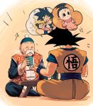 +++ 1girl 2boys :d ^_^ baby beige_background black_eyes black_hair blush carrying chinese_clothes clenched_hands closed_eyes clothes_writing cup dougi dragon_ball dragon_ball_(classic) dragon_ball_super dragon_ball_z eyebrows_visible_through_hair facial_hair facing_away full_body gradient gradient_background grandfather_and_granddaughter grandfather_and_grandson grandpa_gohan halo happy hat high_ponytail highres holding holding_cup imagining indian_style looking_away lying mattari_illust multiple_boys mustache no_nose on_bed open_mouth outstretched_arms pan_(dragon_ball) playing ponytail simple_background sitting smile son_gokuu speech_bubble spiky_hair steam table talking thick_eyebrows twitter_username white_background wristband