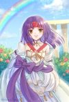1girl bare_shoulders blush dress fire_emblem fire_emblem:_path_of_radiance fire_emblem_heroes flower gloves hanasaki_komugi headband jewelry long_hair looking_at_viewer open_mouth purple_hair ribbon sanaki_kirsch_altina short_hair simple_background smile solo wedding_dress white_dress yellow_eyes