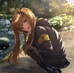 1girl akabane_hibame bangs black_legwear blush breasts brown_eyes brown_hair day eyebrows_visible_through_hair fingerless_gloves girls_frontline gloves hair_between_eyes hair_ornament hairclip highres jacket long_hair looking_at_viewer open_mouth outdoors pantyhose ribbon scar scar_across_eye skirt smile squatting twintails ump9_(girls_frontline)