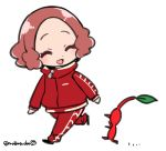 1girl ^_^ brown_hair chibi closed_eyes do_m_kaeru flat_color full_body jacket long_sleeves okumura_haru open_mouth pants persona persona_5 pikmin_(creature) pikmin_(series) red_jacket red_pants short_hair simple_background smile track_jacket track_pants track_suit twitter_username walking white_background |d