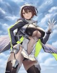 1girl ahoge azur_lane baltimore_(azur_lane) bangs black_legwear blue_coat blue_sky blush braid breasts brown_hair center_opening closed_mouth cuboon hair_between_eyes hand_on_hip highres hooded_coat large_breasts looking_at_viewer midriff_cutout navel short_hair sky smile solo thigh-highs thighs underboob_cutout yellow_eyes zipper_pull_tab
