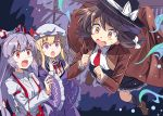 3girls :o abstract_background arm_up armband bangs black_headwear black_skirt blonde_hair brown_coat brown_footwear brown_hair clenched_hands coat commentary_request dress e.o. eyebrows_visible_through_hair flying frilled_sleeves frills fujiwara_no_mokou hair_ribbon hand_on_own_chin hat juliet_sleeves kneehighs light_brown_eyes long_hair long_sleeves looking_at_another maribel_hearn mob_cap multiple_girls necktie open_clothes open_coat open_mouth pink_eyes ponytail puffy_sleeves purple_dress red_eyes red_neckwear red_ribbon ribbon shirt short_hair silver_hair skirt striped striped_legwear suspenders sweatdrop touhou trench_coat upper_body usami_renko very_long_hair white_headwear white_shirt wide_sleeves