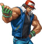 1boy baseball_cap belt black_hair bomber_jacket creatures_(company) denim fatal_fury fingerless_gloves game_freak gloves hat jacket jeans muscle nintendo olm_digital pants pokemon pokemon_(anime) pokemon_(classic_anime) pokemon_(game) satoshi_(pokemon) satoshi_(pokemon)_(cosplay) shirt smile snk solo super_smash_bros. t-shirt tank_top terry_bogard the_king_of_fighters tv_tokyo vest