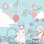 1girl absurdres album_cover antennae arm_behind_back balloon bangs blue_sky blush_stickers carousel clouds commentary cover dress eyebrows_visible_through_hair ferris_wheel highres holding_balloon limited_palette long_hair long_sleeves no_nose no_pupils noeru_(noellemonade) original polka_dot polka_dot_dress purple_hair red_eyes roller_coaster signature sky snail snail_girl snail_shell solo wing_collar