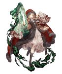 1girl :d bag blonde_hair blood bloody_clothes boots cross-laced_footwear dress frilled_dress frilled_sleeves frills full_body fur_trim high_heel_boots high_heels hood hood_up ji_no little_red_riding_hood_(sinoalice) looking_at_viewer lyre official_art open_mouth orange_eyes shoulder_bag sinoalice sleeves_past_wrists smile smoke solo transparent_background upper_teeth