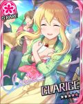 blonde_hair blush character_name clarice_(idolmaster) closed_eyes dress idolmaster idolmaster_cinderella_girls long_hair smile stars