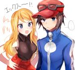 1boy 1girl black_hair blonde_hair blue_eyes breasts closed_mouth commentary_request hat jacket long_hair open_mouth pokemon pokemon_special shirt simple_background skirt white_background x_(pokemon) y_na_gaabena yuhi_(hssh_6)