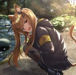 1girl akabane_hibame animal_ears bangs black_legwear blush breasts brown_eyes brown_hair cat_ears cat_tail day eyebrows_visible_through_hair fingerless_gloves girls_frontline gloves hair_between_eyes hair_ornament hairclip highres jacket long_hair looking_at_viewer open_mouth outdoors pantyhose ribbon scar scar_across_eye skirt smile squatting tail twintails ump9_(girls_frontline)