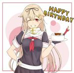 1girl black_ribbon black_serafuku black_skirt blonde_hair cake commentary_request cowboy_shot food grin hair_flaps hair_ornament hair_ribbon hairclip hand_on_hip happy_birthday kantai_collection kukurus long_hair looking_at_viewer neckerchief pleated_skirt red_eyes remodel_(kantai_collection) ribbon scarf school_uniform serafuku skirt smile solo torpedo white_background white_scarf yuudachi_(kantai_collection)