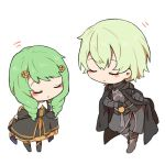 1boy 1girl armor black_armor black_cape bowing byleth_(fire_emblem) byleth_(fire_emblem)_(male) cape chibi closed_eyes closed_mouth curtsey fire_emblem fire_emblem:_three_houses flayn_(fire_emblem) garreg_mach_monastery_uniform green_hair hair_ornament long_hair long_sleeves short_hair shunrai simple_background smile uniform white_background