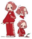 1girl :d brown_eyes brown_hair closed_mouth do_m_kaeru flat_color jacket long_sleeves multiple_views okumura_haru open_mouth pants persona persona_5 pikmin_(creature) pikmin_(series) profile red_jacket red_pants short_hair simple_background smile squatting standing track_jacket track_pants track_suit twitter_username white_background