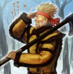 1boy axe bare_tree beard belt blonde_hair day facial_hair fur_trim headband looking_afar male_focus outdoors over_shoulder red_headband snow thorkell tree twitter_username upper_body vinland_saga yellow_coat yoshigoi