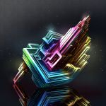 bismuth cluseller commentary_request crystal dark dark_background highres light_particles original rainbow_gradient reflective_floor shiny tagme