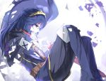 1girl bangs blue_dress blue_eyes blue_footwear blue_gloves blue_hair blue_scarf breasts cape commentary_request dress falchion_(fire_emblem) fingerless_gloves fire_emblem fire_emblem_awakening fire_emblem_heroes gloves highres holding holding_sword holding_weapon large_breasts long_hair lucina_(fire_emblem) scarf shoulder_armor strap super_smash_bros. sword tiara tomas_(kaosu22) weapon