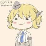 1girl beige_background blonde_hair blue_neckwear breasts chibi closed_eyes colorado_(kantai_collection) comicand_com dated dress elbow_gloves eyebrows_visible_through_hair garrison_cap gloves grey_dress grey_headwear hat headgear kantai_collection large_breasts necktie shirt short_hair side_braids sideboob sleeveless smile solo twitter_username white_shirt