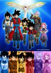 2girls 4boys arms_up baggy_pants beak beat_(dragon_ball) bird black_eyes black_hair blue_background blue_eyes bodysuit boots bow capsule_corp chronoa dragon_ball dragon_ball_heroes drawing_sword earrings fur_collar gloves hair_bow highres jacket jewelry karoine long_vest multiple_boys multiple_girls muscle note_(dragon_ball) nyoibo orange_background orange_hair pants pink_background pink_skin pointy_ears ponytail potara_earrings purple_background purple_hair red_background red_vest saiyan saiyan_armor scabbard sheath shoes short_hair shorts son_gokuu spiky_hair spread_wings super_dragon_ball_heroes supreme_kai_attire sword thigh-highs time_patrol_(dragon_ball) tokitoki_(dragon_ball) trench_coat trunks_(future)_(dragon_ball) turtleneck unzipped vegeta vest weapon wings wristband xeno_goku xeno_trunks xeno_vegeta yellow_background
