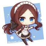 1girl apron bangs black_bow black_dress black_footwear black_legwear blue_background blush bow brown_hair chibi closed_mouth collared_dress commentary_request dress eyebrows_visible_through_hair fate/grand_order fate_(series) forehead frilled_apron frilled_dress frills hair_bow leonardo_da_vinci_(fate/grand_order) leonardo_da_vinci_(rider)_(fate) long_hair low_ponytail maid_headdress parted_bangs ponytail puff_and_slash_sleeves puffy_short_sleeves puffy_sleeves roller_skates short_sleeves sidelocks skates smile solo star thigh-highs twitter_username two-tone_background very_long_hair white_apron white_background white_bow yukiyuki_441