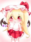 1girl ?? alternate_hair_length alternate_hairstyle arms_up blonde_hair blush chibi eyebrows_visible_through_hair flandre_scarlet gradient gradient_background hair_between_eyes hat hat_ribbon highres long_hair looking_at_viewer mob_cap open_mouth petticoat pink_background red_eyes red_skirt red_vest ribbon shirt side_ponytail skirt skirt_set sleeves_past_fingers sleeves_past_wrists solo thigh-highs touhou triangle_mouth very_long_hair vest white_headwear white_legwear white_shirt wings yairenko zettai_ryouiki
