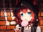 1girl :q bangs black_choker black_jacket blue_eyes braid brick_wall candy character_name chibi choker closed_mouth commentary_request dated eyebrows_behind_hair food grey_shirt hair_between_eyes hand_up happy_birthday holding holding_food holding_lollipop hood hood_up hooded_jacket horned_hood horns jacket kurosawa_ruby langbazi lollipop love_live! love_live!_sunshine!! redhead shirt signature smile solo swirl_lollipop tongue tongue_out upper_body