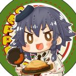 1girl anzio_(emblem) anzio_school_uniform bangs bearbaiting1835 beret black_hair blush braid bright_pupils brown_eyes chibi emblem food frying_pan girls_und_panzer hat long_sleeves looking_at_viewer lowres necktie open_mouth pasta pepperoni_(girls_und_panzer) plate school_uniform short_hair smile solo spaghetti white_pupils