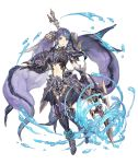 1girl absurdly_long_hair aqua_eyes armor armored_boots boots dragoon_(final_fantasy) faulds final_fantasy fins full_body gauntlets hair_ornament headwear_removed helmet helmet_removed holding holding_helmet ji_no long_hair looking_at_viewer navel ningyo_hime_(sinoalice) official_art polearm purple_hair shoulder_armor sinoalice solo spear transparent_background very_long_hair water weapon