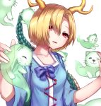 1girl :3 arms_up bangs blonde_hair blouse blue_blouse blue_bow bow breasts collarbone commentary_request dragon_horns dragon_tail hair_between_eyes hair_over_one_eye head_tilt highres horns kicchou_yachie long_sleeves looking_at_viewer mozuno_(mozya_7) otter_spirit_(touhou) parted_bangs parted_lips petting red_eyes short_hair simple_background small_breasts solo standing tail touhou upper_body white_background