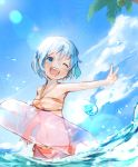 1girl bangs bikini blue_eyes blue_hair blue_sky mahou_shoujo_madoka_magica miki_sayaka mzk0526 navel one_eye_closed open_mouth palm_tree short_hair sky smile solo swimsuit tree twitter_username v water water_drop