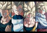 4boys :d aqua_background armor black_border blonde_hair blue_background blue_eyes border cape clenched_hand close-up closed_mouth crossed_arms dougi dragon_ball dragon_ball_z face father_and_son frown gloves highres letterboxed looking_at_viewer looking_to_the_side male_focus mattari_illust multiple_boys open_mouth panels profile purple_background red_background serious shaded_face simple_background smile son_gohan son_gokuu spiky_hair super_saiyan tank_top teeth trunks_(future)_(dragon_ball) twitter_username upper_body upper_teeth vegeta white_gloves