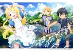 1girl 2boys absurdres alice_schuberg artist_request black_hair blonde_hair eugeo highres kirito long_hair looking_at_viewer multiple_boys splashing sword_art_online sword_art_online_alicization
