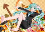 1girl aqua_eyes aqua_hair aqua_nails arrow black_footwear black_jacket black_skirt buttons circle commentary foot_up formal full_body hair_ornament hatsune_miku high_heels highres jacket knee_up long_hair looking_at_viewer nail_polish necktie open_mouth outstretched_arm polka_dot polka_dot_background salute satowaka_miharu shirt shoes short_necktie sitting skirt smile solo star suit triangle twintails two-tone_neckwear uniform very_long_hair vocaloid white_shirt