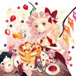 6+girls :t apron artist_name banana_slice bat_wings black_skirt black_vest blonde_hair blouse blue_skirt blueberry book braid brooch chair character_name chibi chinese_clothes closed_eyes commentary_request cravat creamer_(vessel) crescent crescent_hair_ornament cup double_bun eating eyebrows_visible_through_hair flandre_scarlet flat_cap food food_on_face fork fruit green_headwear hair_ornament hair_ribbon hand_on_hip hat hat_ribbon head_tilt head_wings holding holding_book holding_fork holding_knife honey hong_meiling izayoi_sakuya jewelry knife koakuma long_hair looking_at_viewer maid_headdress minigirl mob_cap mochacot multiple_girls pancake pants patchouli_knowledge patterned_background pillow pink_background pink_blouse pink_headwear pink_robe pink_skirt plate pouring pout puffy_pants puffy_short_sleeves puffy_sleeves raspberry reading red_eyes red_neckwear red_skirt red_vest redhead remilia_scarlet ribbon robe saucer shirt short_hair short_sleeves side_ponytail silver_hair sitting sitting_on_pillow skirt sleeping smile standing star strawberry table tea teacup teapot teaspoon touhou tress_ribbon twin_braids very_long_hair vest waist_apron whipped_cream white_headwear white_pants white_shirt wings wooden_chair wooden_table yellow_neckwear