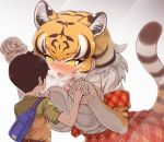 1boy 1girl :3 :d against_glass animal_ear_fluff animal_ears animal_print between_breasts blonde_hair blush breast_press breasts brown_hair commentary_request elbow_gloves extra_ears eyebrows_visible_through_hair fang gloves hair_between_eyes heavy_breathing kemono_friends large_breasts looking_at_another multicolored_hair necktie necktie_between_breasts open_mouth orange_eyes orange_skirt paw_pose plaid plaid_neckwear plaid_skirt plaid_trim print_gloves shirt short_hair short_sleeves shorts size_difference skirt smile tail tanaka_kusao tiger_(kemono_friends) tiger_ears tiger_print tiger_tail white_hair white_shirt yellow_eyes