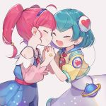 2girls :d ^_^ ahoge aqua_hair bangs blush closed_eyes commentary_request eyebrows_visible_through_hair grey_background hagoromo_lala hairband happy hoshina_hikaru multiple_girls open_mouth pink_hair precure short_hair short_sleeves simple_background smile star_twinkle_precure tere twintails