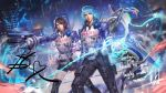 1boy 1girl akira_howard astral_chain blue_hair boots brother_and_sister brown_eyes brown_hair chain commission gloves gun hair_ornament highres jacket knee_boots looking_at_viewer police police_uniform policewoman sariya_asa short_hair siblings thick_lips twins uniform weapon
