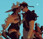 2boys androgynous animal_hat bag black_cat black_hair blue_sky bunny_hat cat couple dark_skin eye_contact fernanda_dias hair_over_shoulder hat high-waist_shorts interracial long_hair looking_at_another male_focus multiple_boys original pumps rabbit shorts sky smile sun_hat thigh-highs too_many too_many_bunnies too_many_cats yaoi zettai_ryouiki
