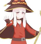 1girl belt chirun0 closed_mouth cosplay fingerless_gloves fire_emblem fire_emblem:_three_houses gloves hat highres kono_subarashii_sekai_ni_shukufuku_wo! long_hair lysithea_von_ordelia megumin megumin_(cosplay) pink_eyes simple_background smile solo white_background white_hair witch_hat