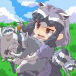 1girl animal animal_ears bangs black_hair blue_sky clouds common_raccoon_(kemono_friends) day fang food hug kemono_friends multicolored_hair open_mouth raccoon raccoon_ears raccoon_tail short_hair sky smile tail umikazenet3