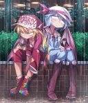 2girls alternate_costume ankle_boots bag baseball_cap bat_wings blonde_hair blue_hair boots brick_wall casual contemporary eyebrows_visible_through_hair flandre_scarlet hair_between_eyes handbag hat hat_ribbon knee_boots ledge long_sleeves mob_cap multicolored_footwear multiple_girls overalls plant raglan_sleeves rain remilia_scarlet ribbon shimizu_pem siblings sitting tagme touhou tsurime wings