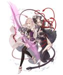 2girls arrow blonde_hair bow_(weapon) cape crossover detached_sleeves dual_persona fina_(ff_be) final_fantasy_brave_exvius flower full_body hair_flower hair_ornament high_heels ji_no looking_at_viewer multiple_girls navel navel_cutout official_art red_eyes sinoalice snake thigh-highs transparent_background veil weapon whip