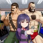 1girl 2boys abs arcade arcade_cabinet beard blue_eyes brown_eyes brown_hair chest_hair clenched_hand coin dress facial_hair final_fight green_pants guile high_score_girl highres indoors long_sleeves mike_haggar mohawk multiple_boys muscle mustache navel neck_ribbon oono_akira pants pink_eyes pink_ribbon poster_(object) purple_dress purple_hair ribbon standing street_fighter taka_(takahirokun) veins zangief